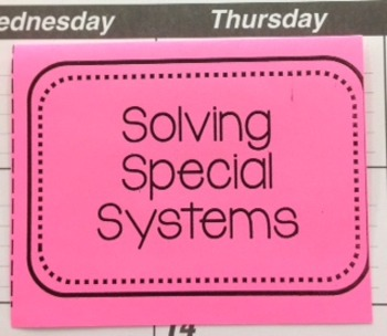 Solving Special Systems Foldable