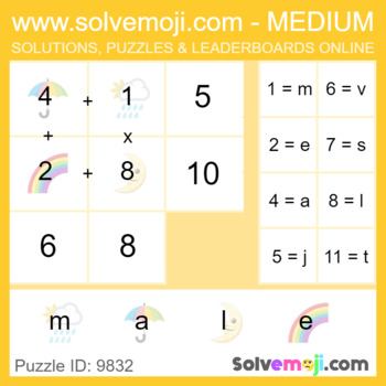 Solvemoji Emoji Word Puzzles - 50 puzzles - 10 of each level - With Solutions