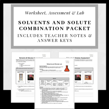 Solvent Solution And Solute Worksheets Teaching Resources