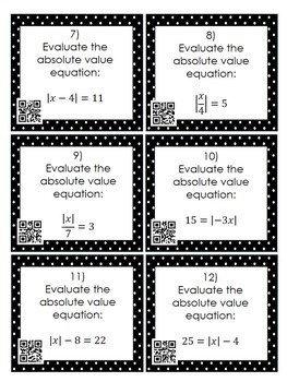 Solving 1-Step Absolute Value Equations: 24 Task Cards