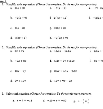 Solving 1 Step Equations
