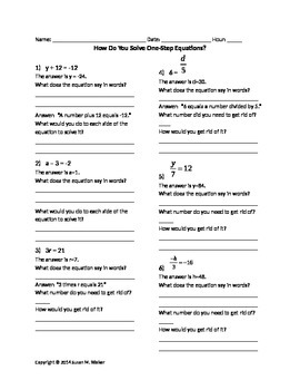 Solving 1-Step Equations (All types) with Prompts & Justification