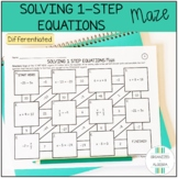 Solving 1 Step Equations Differentiated Maze Activity