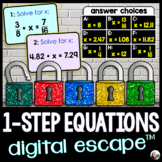 Solving 1-Step Equations Digital Math Escape Room