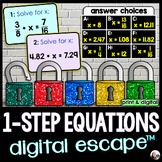 Solving 1-Step Equations Digital Math Escape Room