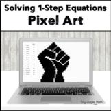 Solving 1-Step Equations Digital Pixel Art - Raised Fist