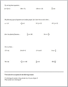 Solving 1-Step Equations (Guided Notes and Assessments)