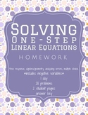 Solving 1-Step Equations Homework Worksheet