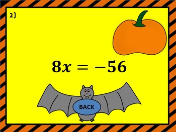 Solving One Step Equations Pumpkin Smash PowerPoint Halloween Game