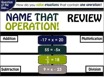 Solving One-Step Equations - SmartBoard presentation
