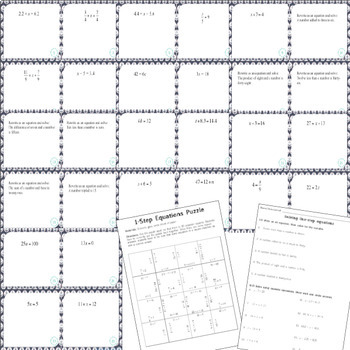 Solving 1-Step Equations:  28 Task Cards, Puzzle, and Assignment