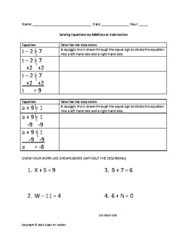 Solving 1-Step Equations by Adding & Subtracting with Example Worksheets/Quizzes