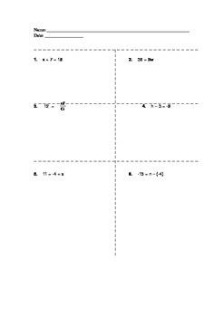 Solving 1 Step Equations - quiz