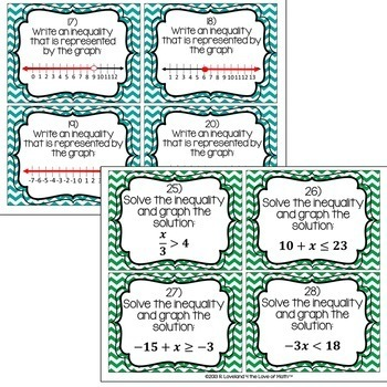 Solving 1-Step Inequalities: 30 Task Cards