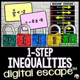 Solving 1-Step Inequalities Digital Math Escape Room