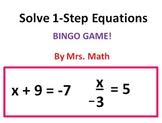 Solving 1-Step Linear Equations BINGO (Mrs Math)
