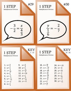 Solving 1 and 2 Step Equations Task Cards