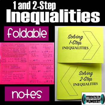Solving 1 and 2 -Step Inequalities Foldable Notes Interactive Notebook