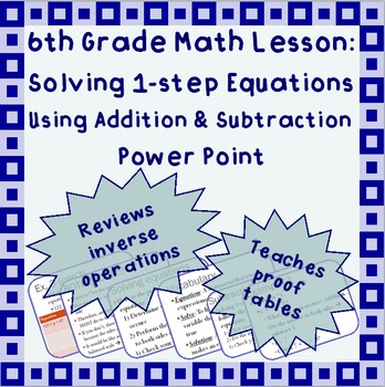 Solving 1-step equations using addition or subtraction - A Power Point Lesson