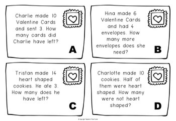 Word problems - Solving 1 step word problems - Valentine theme