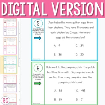 Solving 2-Digit by 1-Digit Multiplication Word Problem Activities