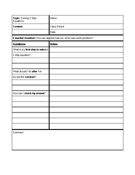 Solving 2 Step Equations Cornell Notes