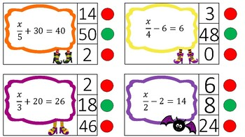Solving 2 Step Equations: Halloween Clothespin Activity