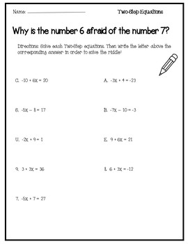 Solving Equations Activity {2 Step Equations} {Two Step Equations}
