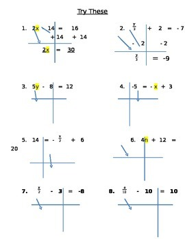 Solving 2 Step Equations Notes