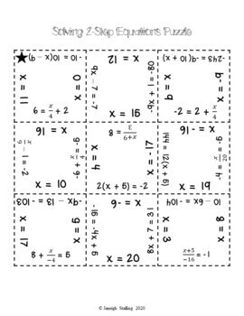 Solving 2-Step Equations Puzzle