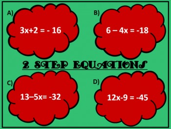 Solving Two Step Equations Race (Interactive Slide Show)