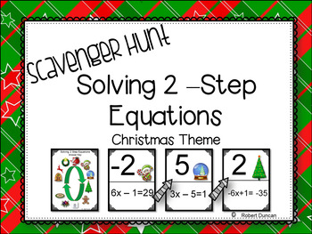 Solving 2-Step Equations - Scavenger Hunt- Christmas Theme