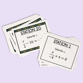 Solving Two-Step Equations With Integers Task Cards