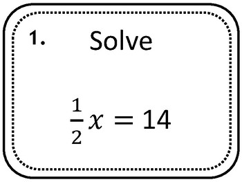 Solving 2 Step Equations Task Cards,  Pre-Algebra