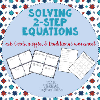 Solving 2-Step Equations:  Task Cards, Puzzle, and Assignment