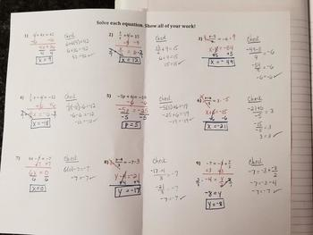 Solving 2-Step Equations With Fractions (Foldables)