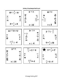 Solving 2-Step Inequalities Puzzle