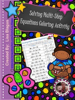 Solving 2 Step or Multi-Step Equations Coloring Activity