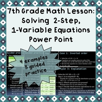 Solving 2-step, 1-variable equations - A Power Point Lesson