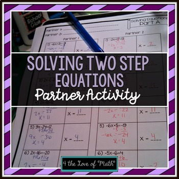 Solving 2-step Equations Pa... by 4 the Love of Math | Teachers ...