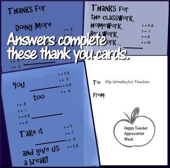 Solving 2-step Equations Teacher Appreciation Cards