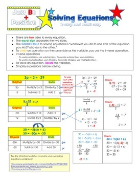 Solving 2-step equations