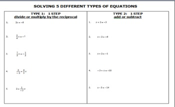 Solving 5 different types of equations practice