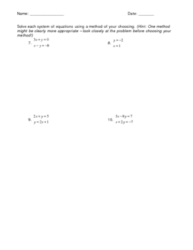 Solving a System of Equations - Mixed Review
