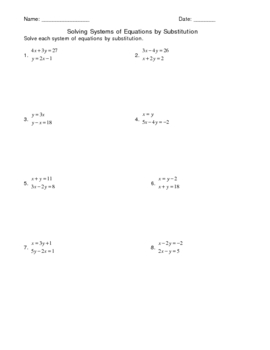 Solving a System of Equations Using Substitution Worksheet