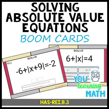 Solving Absolute Value Equations - BOOM CARDS - Digital Task Cards