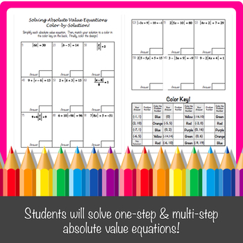 Solving Absolute Value Equations Color-by-Solution!