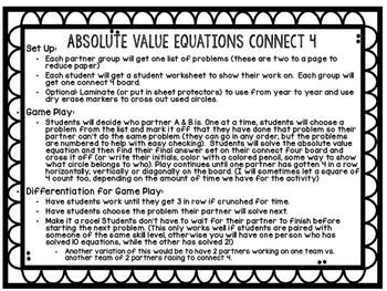 Solving Absolute Value Equations Connect 4 Game