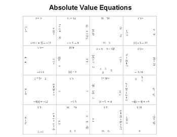 Solving Absolute Value Equations Fun Square Puzzle Activity