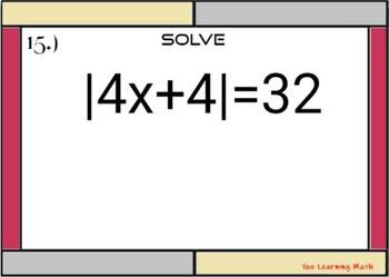 Solving Absolute Value Equations - GOOGLE Slides: 20 Problems